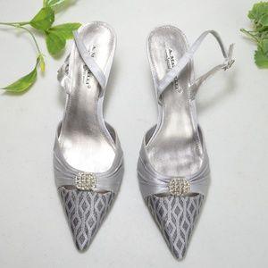 $10 Deal! A. Marinelli - silver slingbacks